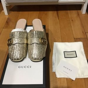 Gucci Marmont GG Metallic Gold Backless Slipper